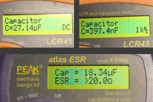 Capacity and ESR-reading from a very bad cap from Medion 30919 PO, taken with Peak Atlas equipment