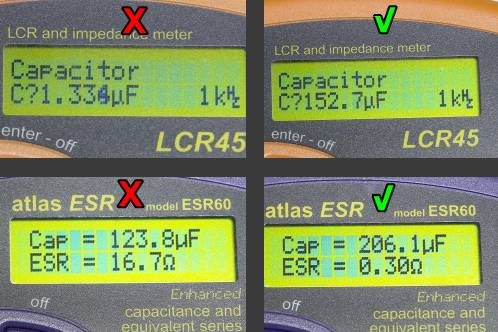 Capacity and ESR-reading of a bad cap from Medion 30919 PO TFT monitor, taken by Peak Atlas equipment