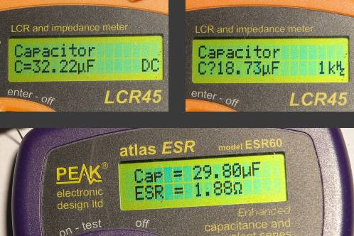 The capacity and ESR from a good capacitor, measured with Peak Atlas equipment