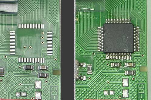 The PCF8576 removed, the PCB cleaned and a new PCF8576 soldered in place